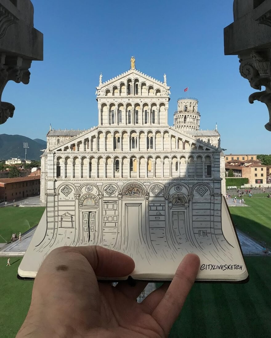 12-Pisa-Cathedral-Pietro-Cataudella-3D-Architectural-Urban-Moleskine-Sketches-www-designstack-co