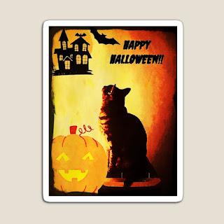 Happy Halloween Cat Fridge Magnet