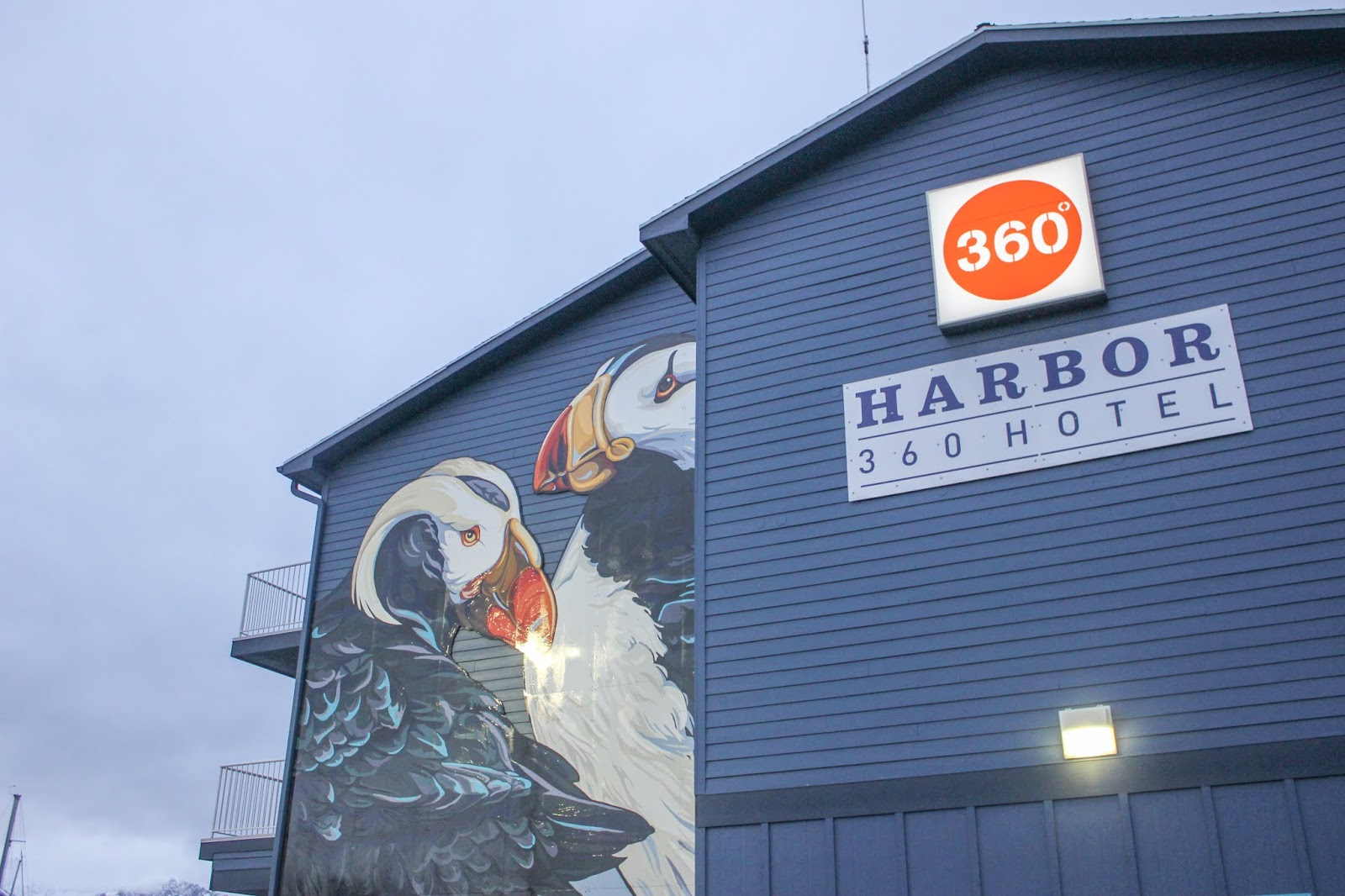 puffin mural on Harbor360 Hotel Seward Alaska