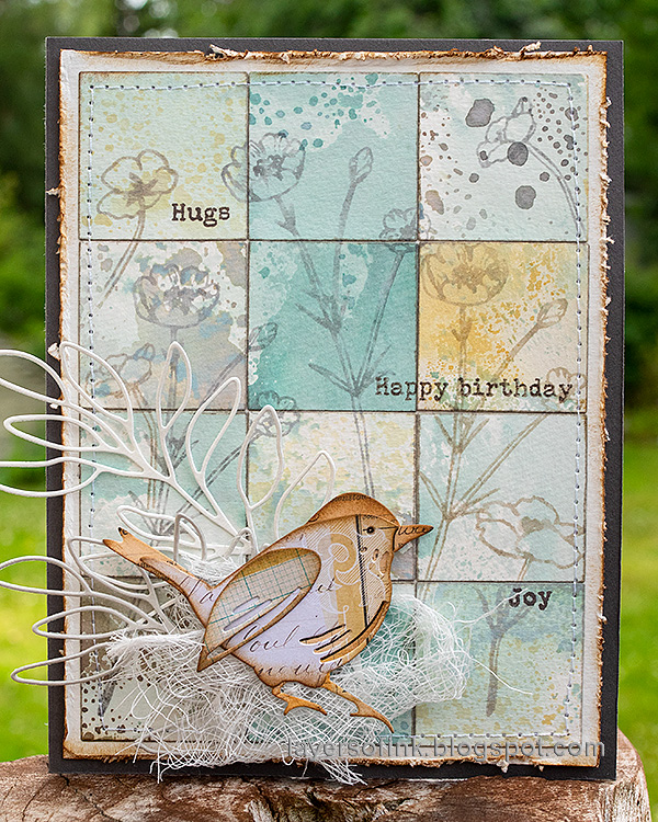 Layers of ink - Distress Ink Blocks Card Tutorial with Bird and Stamping by Anna-Karin Evaldsson.