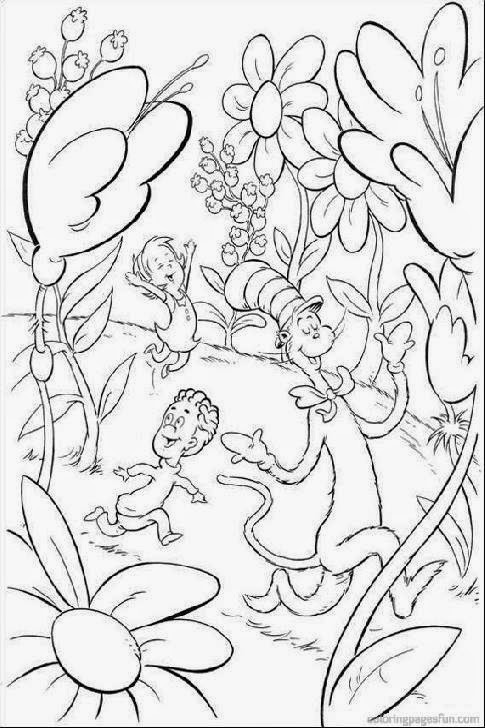 Dr Seuss Cat In The Hat Coloring Pages Sketch Coloring Page