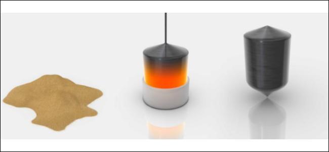 ثلاثة عناصر: رمل ، وسبائك سيليكون ساخن يتم تشكيله ، وسبائك رمادية من السيليكون على خلفية بيضاء