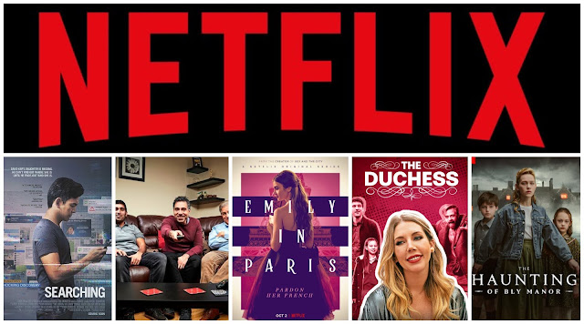 collage - Netflix logo, Searching poster, Gogglebox poster, Emily in Paris poster, The Duchess poster, The Haunting of Bly Manor poster