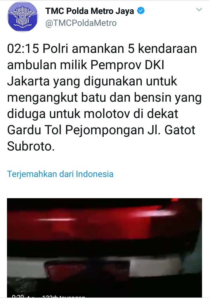 Sebut Ambulan DKI Bawa Batu, Begini Protes Netizen ke Polri