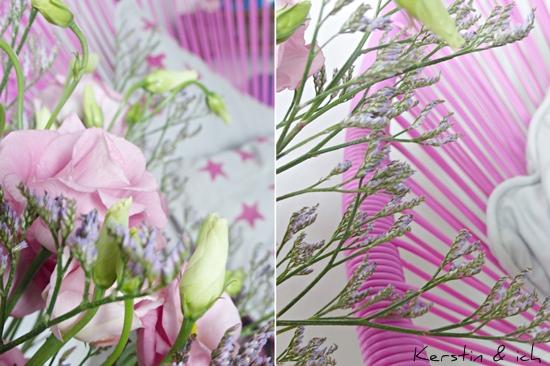 Großaufnahme Blumenstrauß Strandflieder und Japanrose in Rosatönen