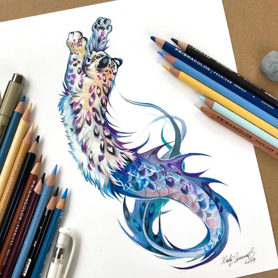 04-Snow-Leopard-Mermaid-Animal-Drawings-Fantasy-Wolds-www-designstack-co