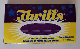 "The packaging of Thrills chewing gum, complete with the ""It still tastes like soap!"" slogan"