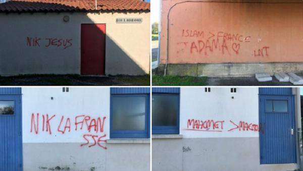 Bombes de peinture « Nik la Fransse », « Mahomet>Macron »: plusieurs tags découverts dans le Tarn