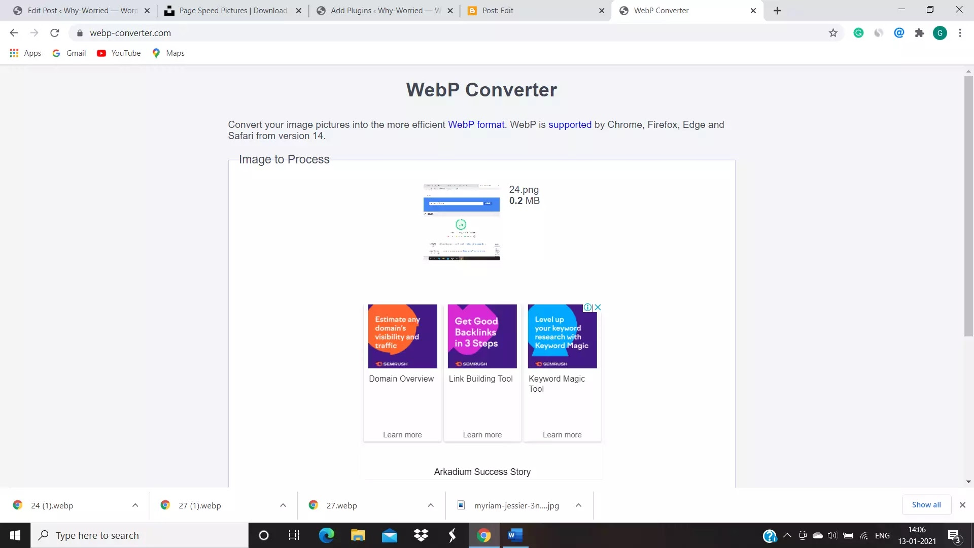 screen shot of Webp converter home page