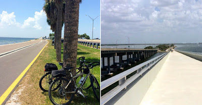 Separated bicycle trails on separate bridge