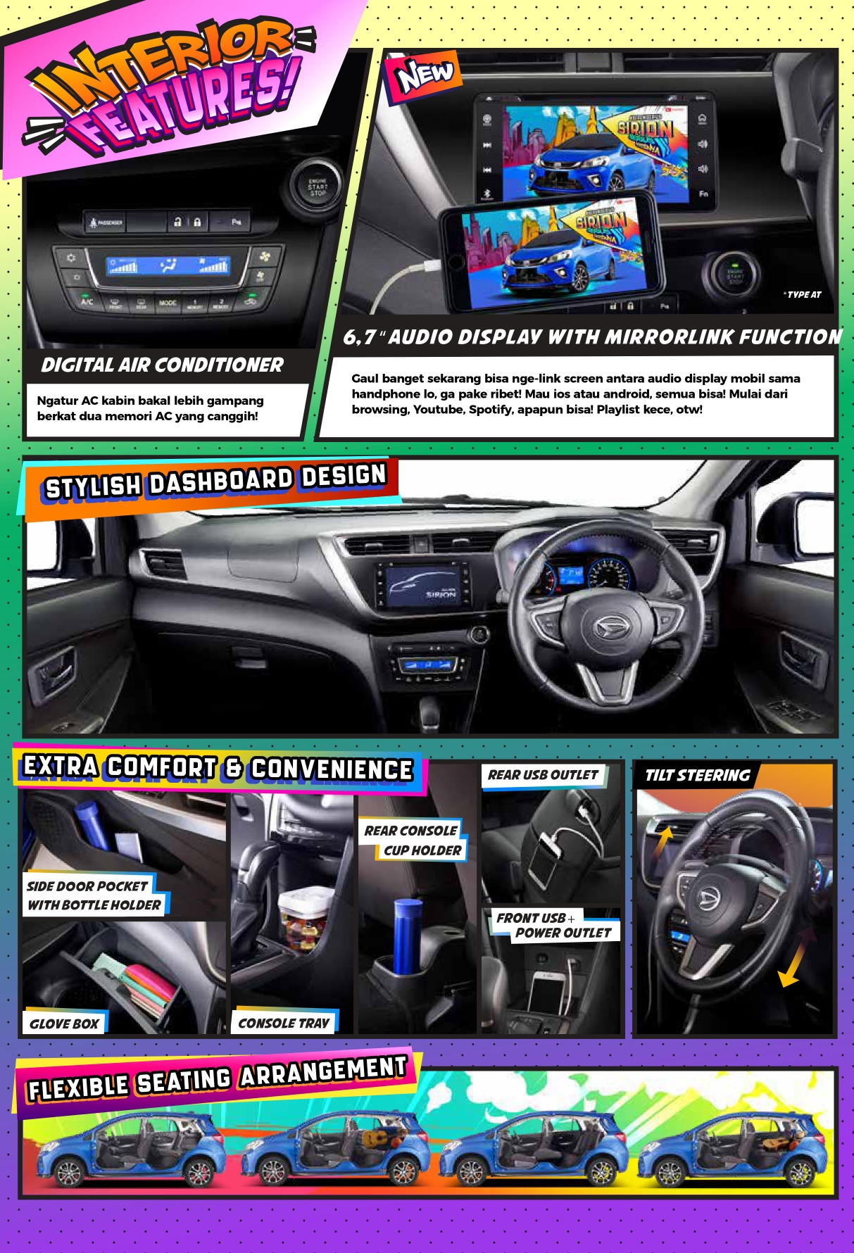 Fitur Interior All New Sirion