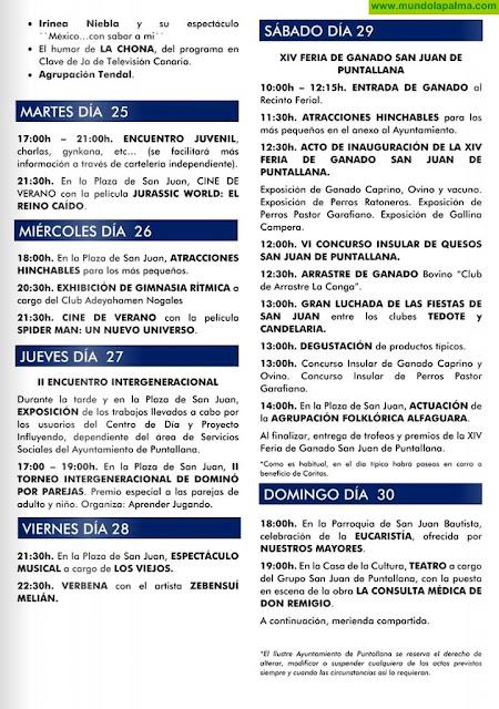Programa de Las Fiestas de San Juan Bautista – Puntallana 2019