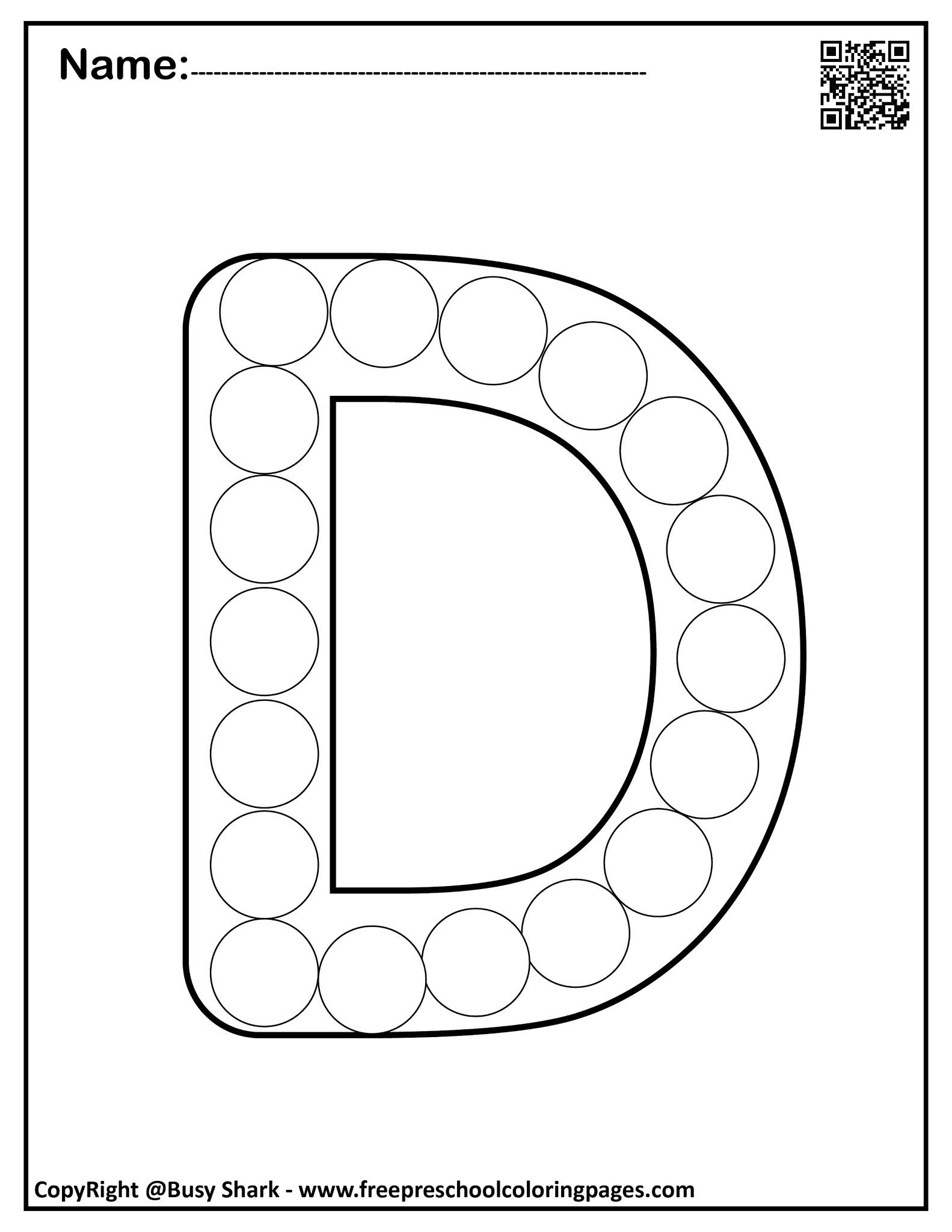 """Set of Letter D """"24 free Dot Markers coloring pages"""""""