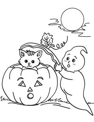 Tranh tô màu halloween và con ma