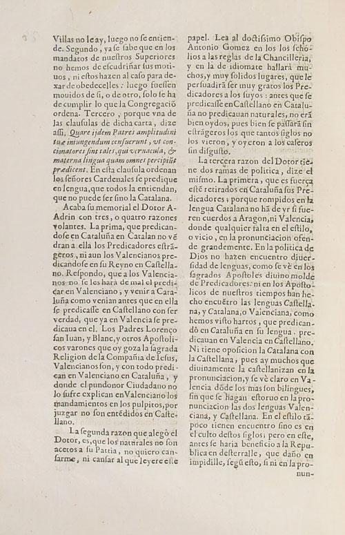 Memorial en defensa de la lengua catalana para que se predique en ella en Cataluña. 18