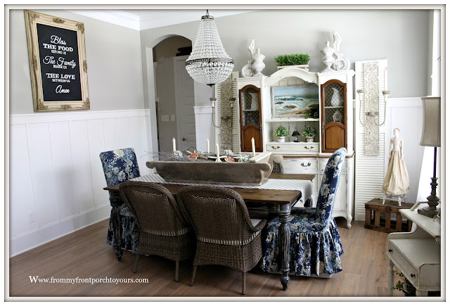 French Country Farmhouse Dining Room-Board and Batten Wainscoting-Prayer Chalk Board- From My Front Porch To Yours