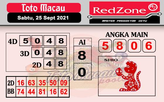 Redzone Macau Sabtu 25 September 2021