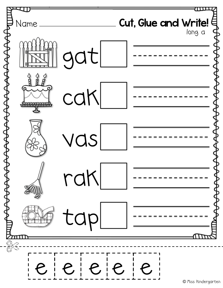 Super CVCe Practice that tricky magic e Miss Kindergarten – E Worksheets for Kindergarten