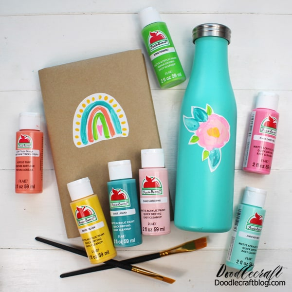 Supplies Needed for Making Stickers with Plaid Apple Barrel Paint: Apple Barrel Paint in various shades Sticker Paper Paint Brush Mod Podge in Matte Finish