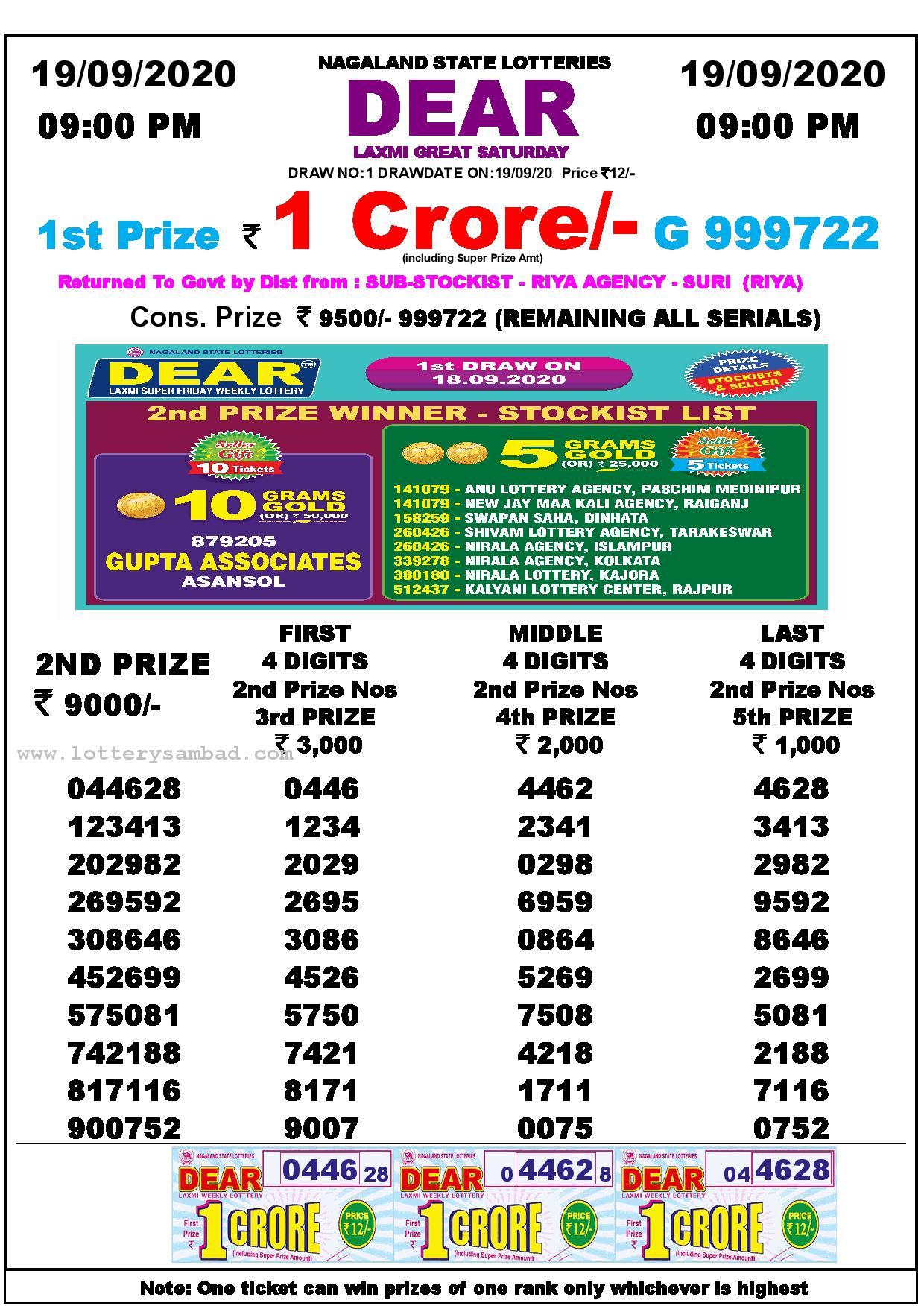 9pm Dear Laxmi Result