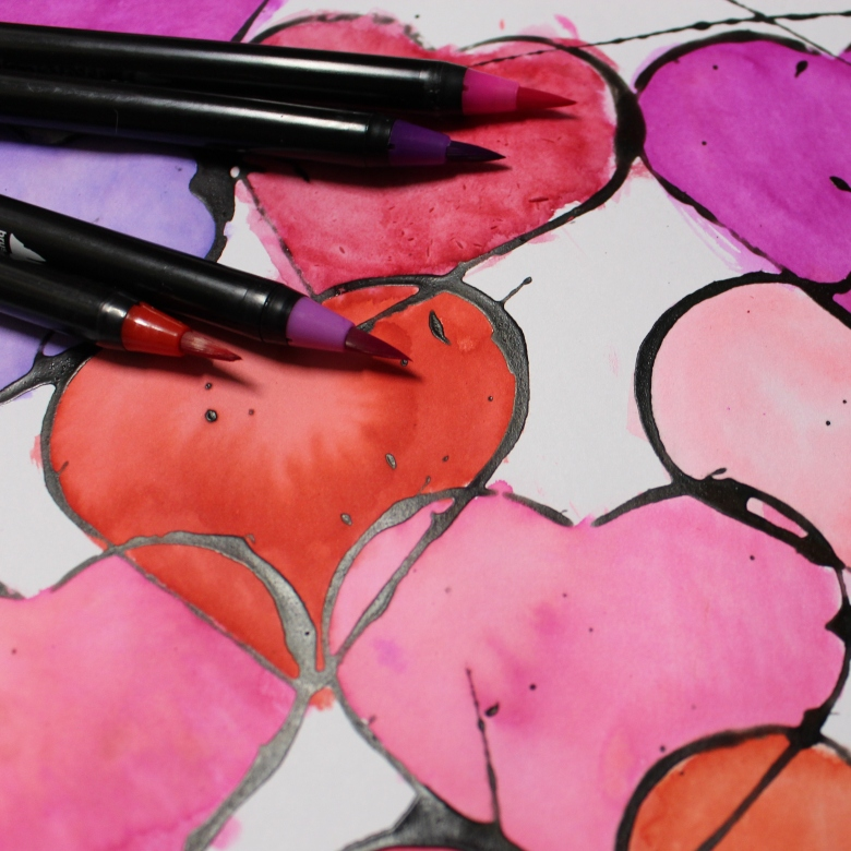 watercolor heart art project for kids