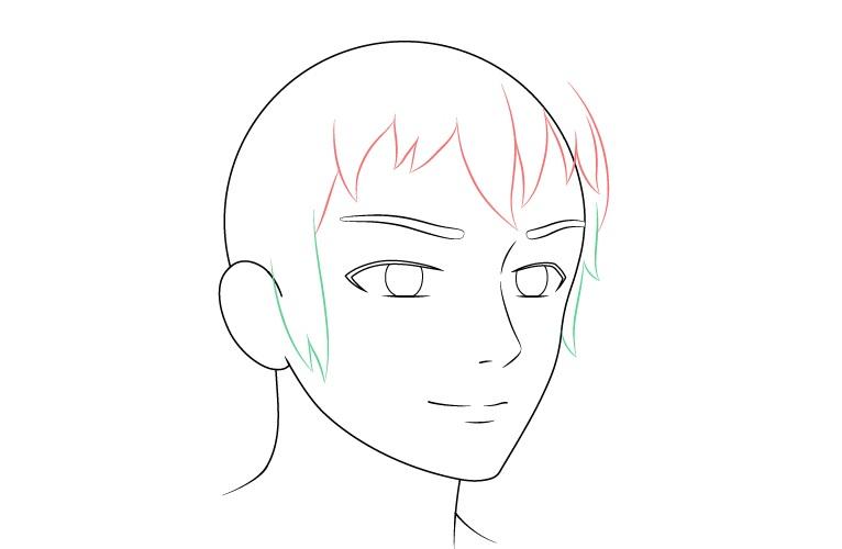 Anime laki-laki wajah 3/4 tampilan sisi gambar rambut