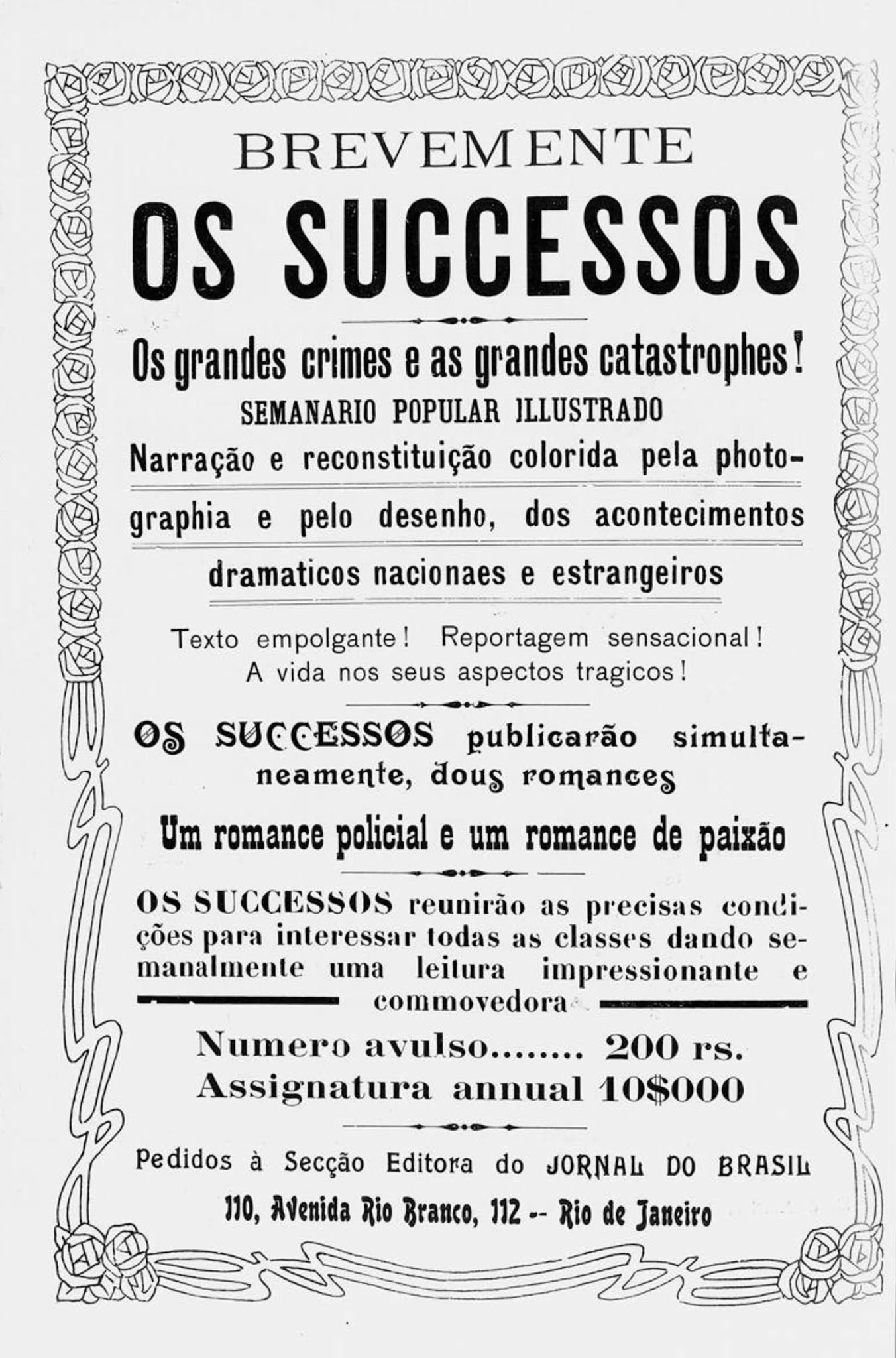 """Propaganda antiga veiculada em 1914 do semanário """"Os Sucessos"""""""