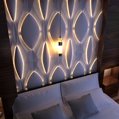 Lighting effects with 3D abstract wall panels and lighting inside the wall design