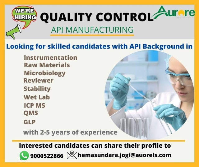 Aurore Life Sciences Openings- Quality Control for Experienced Candidates Send your Resume