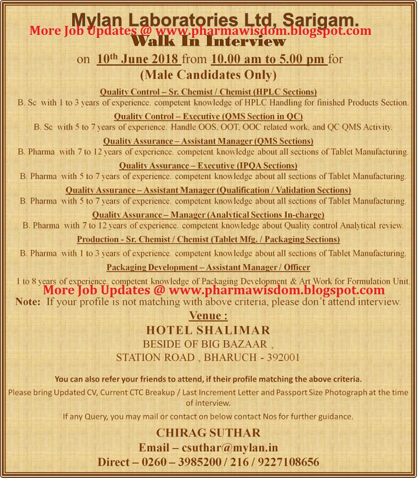 Mylan Laboratories Limited - Walk-In Interviews for Multiple