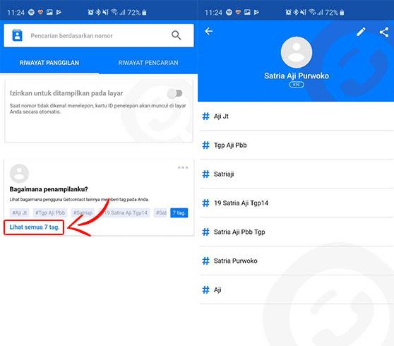 Cara mudah mengetahui nama kontak kita di HP orang via Get Contact.