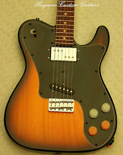 image results for 1972 Tele Deluxe design with Lollar Pickups in Sunburst from Haywire Custom Guitars Custom guitar shop.