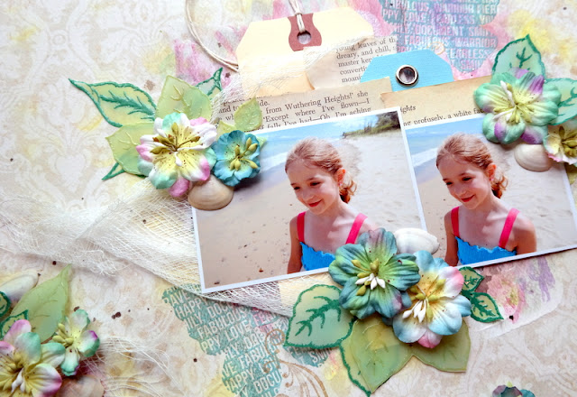 Beach Themed Flower Clusters with Vellum Leaves Flowers and Shells