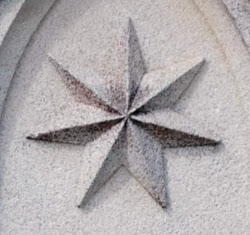 Heptagram: Used in Jewish mysticism and the Gnostic tradition. Ipswich Cemetery, Queensland.