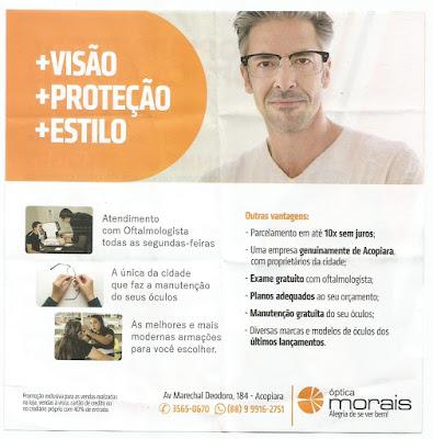 A única da cidade que faz a manutenção do seu óculos. As melhores e mais  modernas armações para você escolher. A Óptica Morais, fica na Marechal  Deodoro, ... dc6412b3ea