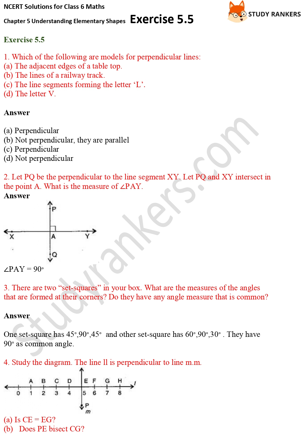 NCERT Solutions for Class 6 Maths Chapter 5 Understanding Elementary Shapes Exercise 5.5 Part 1