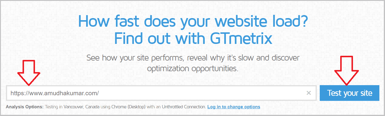 GTmetrix Speed Test for Amudhakumar