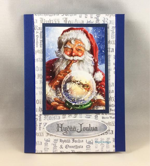 Christmas card magic Santa Claus Hunkydory Twas the Night topper SapiDesign