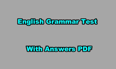 English Grammar Test with Answers PDF Free Download
