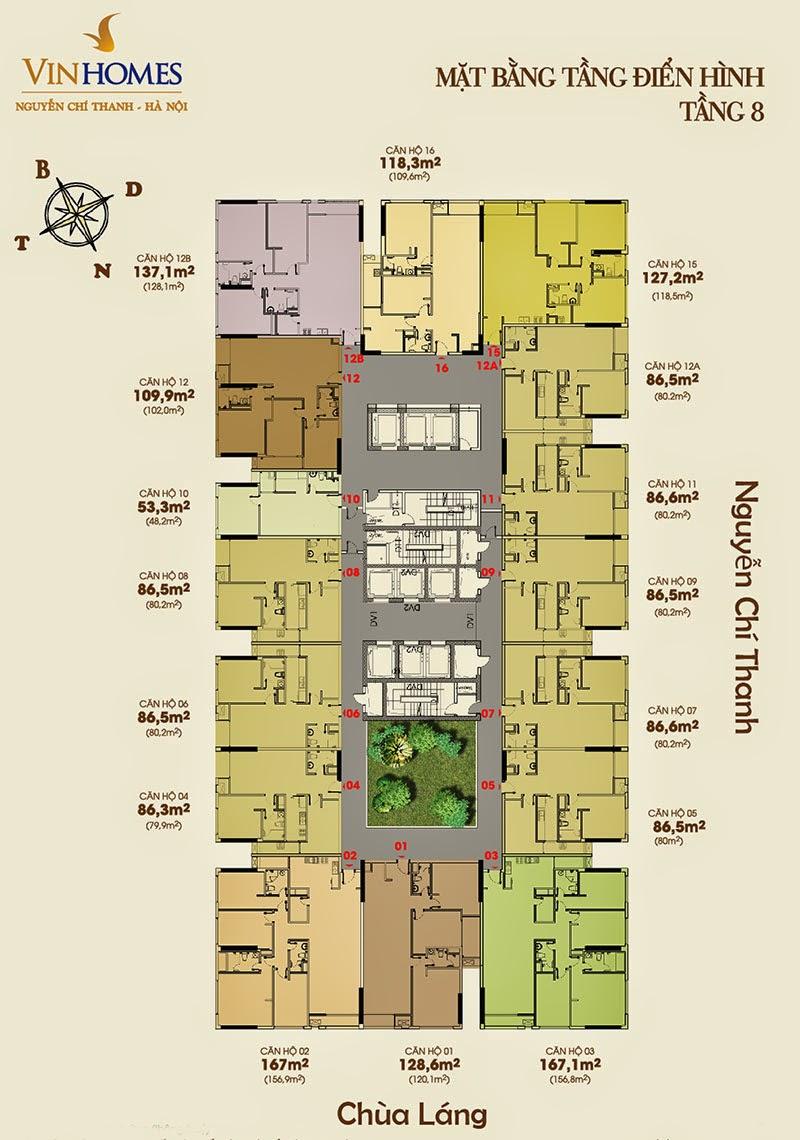 Mặt bằng tầng 8 chung cư Vinhomes Nguyễn Chí Thanh