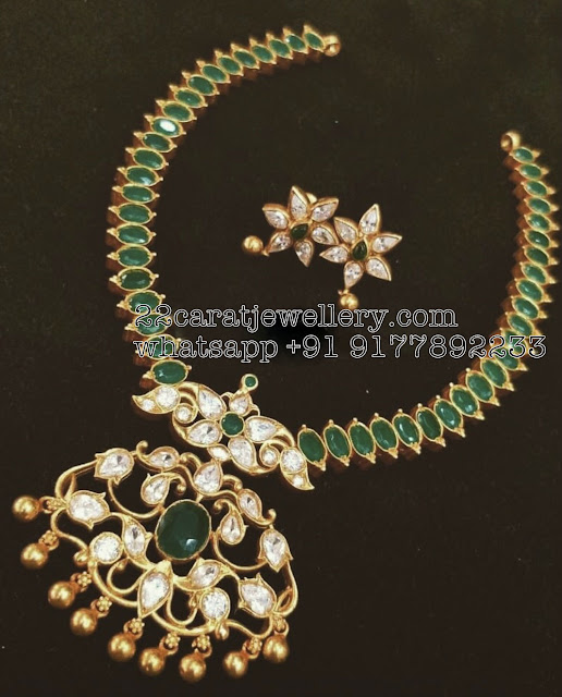 92.5 Silver Emerald Necklace