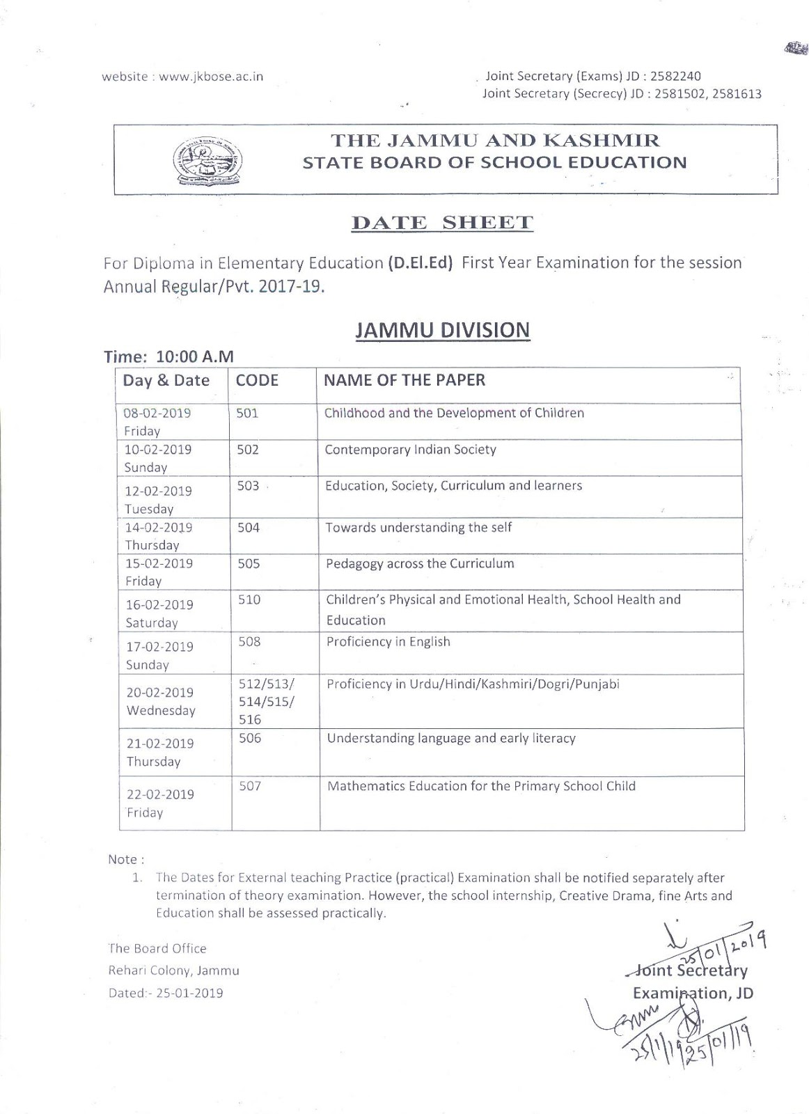 JKBOSE Date Sheet for D.El.Ed First Year Exam for Session RegularPvt 2017-19
