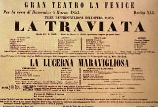The poster advertising the first performance of Verdi's famous opera at Teatro La Fenice in Venice