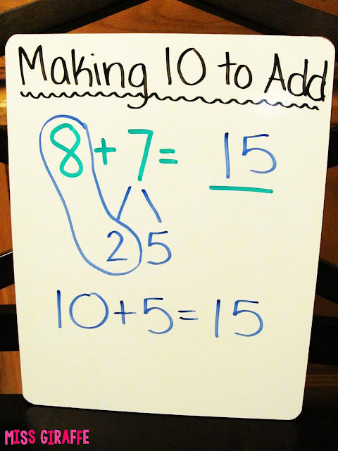 Make a 10 to Add anchor chart idea for the making a 10 addition strategy.. read this for step by step instructions on how to teach it in fun ways and lots of awesome ideas and resources to do it with!