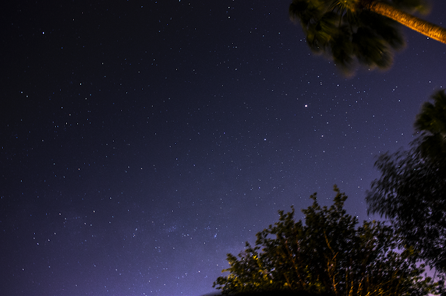 Milky Way, Mars, Saturn, and Antares triangle