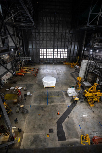 The Orion stage adapter sits at the middle of High Bay 4 inside Kennedy Space Center's Vehicle Assembly Building on October 4, 2021...waiting to be mated to NASA's Space Launch System rocket.