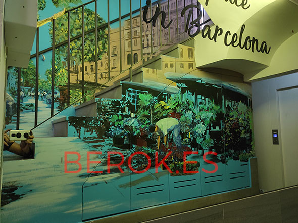 Mural barcelona escalera
