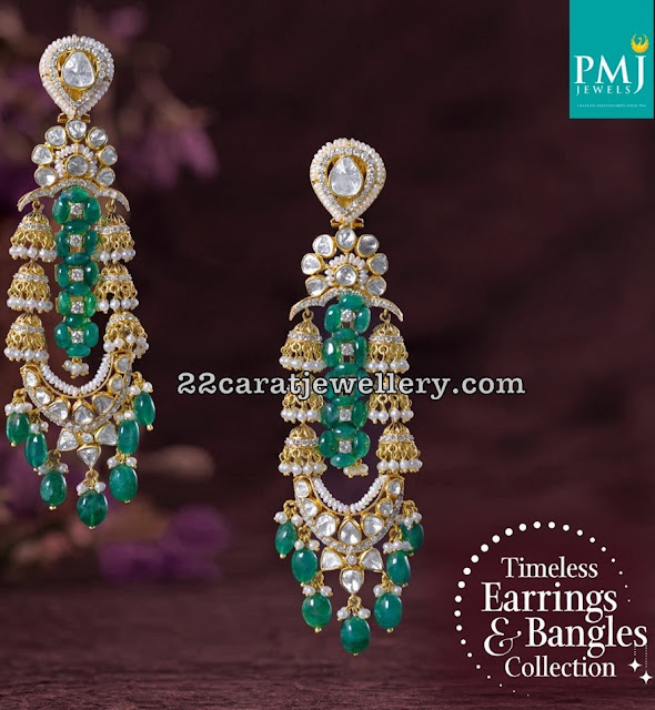 Emerald Drops Diamond Hangings by PMJ