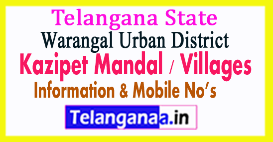 Kazipet Mandal Villages in Warangal Urban District Telangana