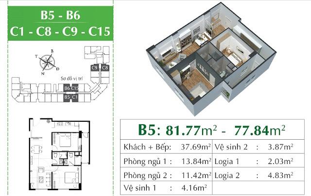 Thiết kế căn B5, B6 Eco city Việt Hưng